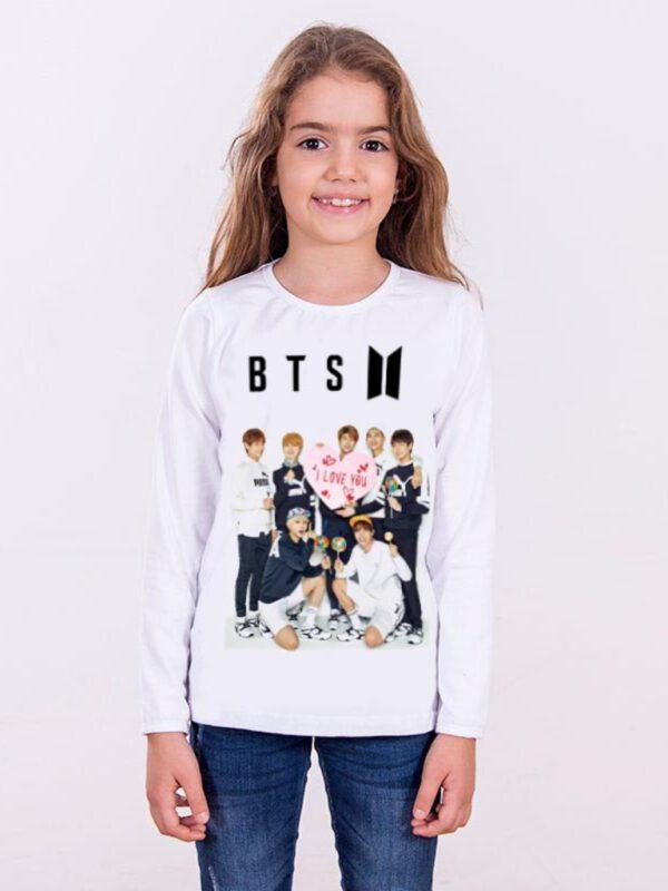 خرید اینترنتی تیشرت دخترانه سفید رنگ طرح BTS از ترکیه
