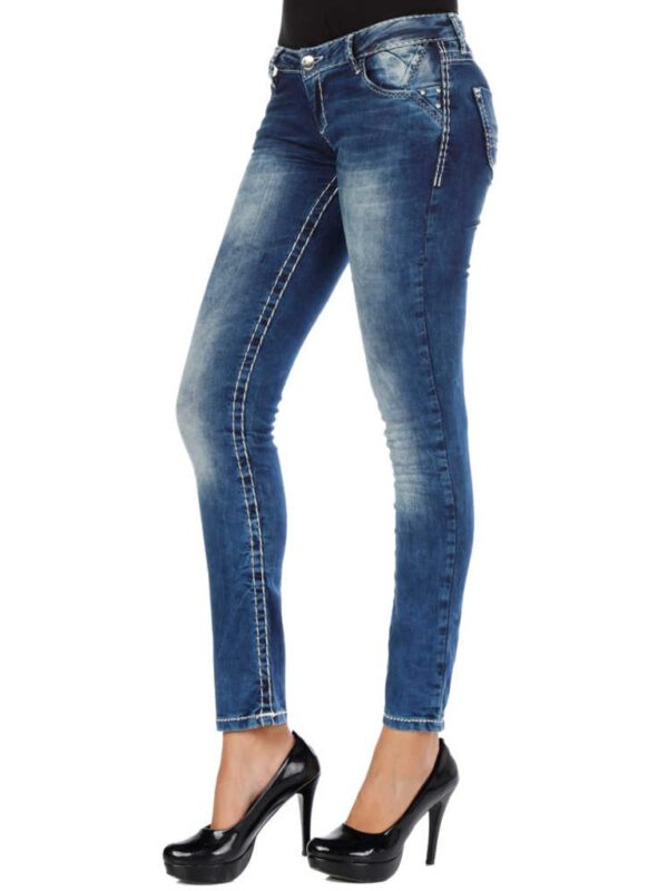 خرید آنلاین شلوار جین از ترکیب رنگ آبی و سفید برند Cipo کد CBW-0639